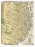 Old Antique Decorative Map of St. Louis Missouri Appleton ca. 1892