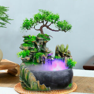 Water Feature Tranquil Zen Relaxing Indoor LED Light Fountain Ornament Fengshui