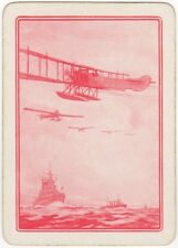 Playing Cards 1 Swap Card - Old Antique Wide WW1 NAVAL ESCORT CONVOY Bi-Plane 2