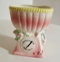 Vintage Ceramic Baby Scale Nursery Planter Flowers Room Decor pink yellow