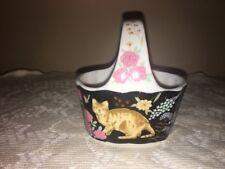 Porcelain basket black with cats and flower design Japan