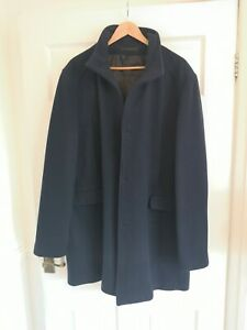 Mens Navy slhmosto Overcoat Wool By Selected Homme XXL Great Condition