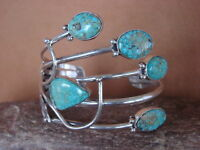 Native American Jewelry Sterling Silver Turquoise Bracelet by Harold Tahe