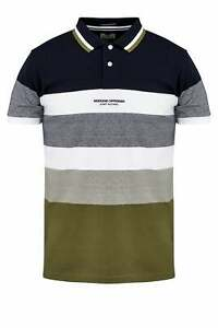 WEEKEND OFFENDER Rochelle Short Sleeve Striped Polo Shirt Navy