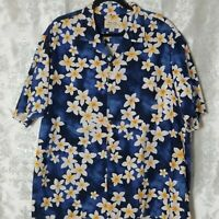 Royal Creations Mens Shirt 2XL Hawaiian Short Sleeve Button Up Blue Floral