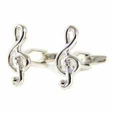 New Treble Clefs Cuff Link With Box Rhodium Plated Music Clefs Cufflink 0030