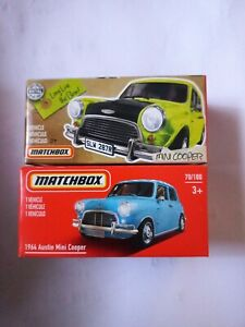 2 x MATCHBOX LOT 1964 MINI COOPER BLUE AND YELLOW MR BEAN LONG LIVE POWER 1/64