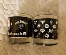 Jack Daniel's NBA Team Logo Drink Glasses Whiskey Scotch Cocktail Set of 2