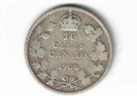CANADA 1908 TEN CENTS DIME KING EDWARD VII STERLING SILVER COIN CANADIAN
