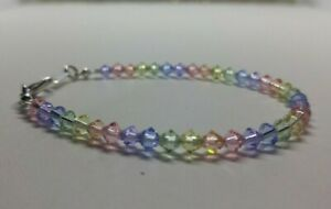 Swarovski Crystal Bicone Pastel Rainbow Beaded Bracelet on Stainless Steel Wire