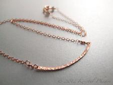 Hammered Rose Gold Bar Necklace - handmade original design 14kgf artisan