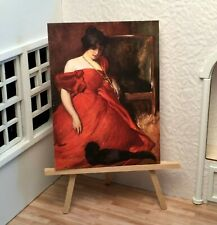 Miniature Dollhouse Shadow Box Art Red Dress with Cat Painting Handmade