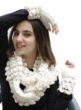 Womens Hand Knitted Superfine Alpaca Wool Infinity Scarf & Gloves 2 Piece Set