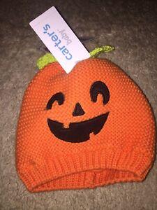 Carter's Baby Halloween Pumpkin Knit Hat ~ Orange ~ Size 3-9 months ~ nwt