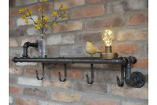 Metal & Wood Pipe Wall Storage Shelf With Coat Hooks Display Shelving Rack Gold