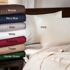 Home 3 PCs Duvet Set+Fitted Sheet 1000 Thread Count Striped Colors UK Double