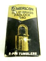 Vintage New in Box Solid Brass American Lock Co 5 Pin Tumble Padlock with Keys