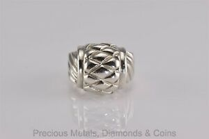 Sterling Silver Puffy Crossover Grooved Dome Band Ring 925 Sz: 6