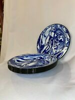 Splatter Ware Dishes NEW Cobalt blue Enamelware set 5 dinner plates 9 1/2 inch