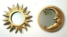 Pair Of Wall Hanging Gold Finished Celestial Theme Wall Mirrors