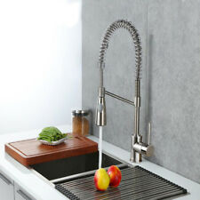 Kitchen Sink Mixer Spray Taps With Pull Out Hose Monobloc Chrome Brushed Steel
