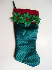 Green Pleated Satin Poinsettia Flower Cuff Christmas Stocking Decoration Holiday