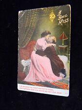 "Vintage Valentines Day Postcard - ""A Soul Kiss"" Postmark 1910"