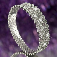 18k white gold gf made with SWAROVSKI crystal bangle wedding party bracelet