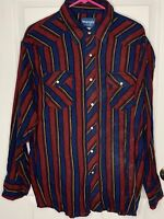 VINTAGE Wrangler Western Shirt Red Blue Pearl Snap Size Large Long Sleeve CLEAN