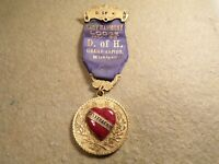 Antique D of H Badge Medal Ribbon Pin Freemasonry Masonic Lodge Grand Rapids