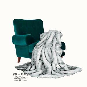 Faux Fur Throw Blanket, Plush Arctic Wolf, Black Tipped, Minky Cuddle Lining USA