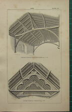 1850 ANTIQUE GOTHIC ARCHITECTURE PRINT ~ ROOF ~ HIGHAM FERRERS ~ LITTLE COXWELL