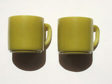 Vintage Coffee Cups Green Fire King Mugs *Stackable x 2