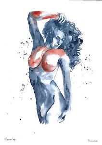 original painting A3 759DO art samovar modern watercolor female nude Signed 2021