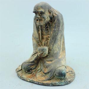 Antique Old bronze statue Sakyamuni Buddhism Family art damo Asceticism Buddha