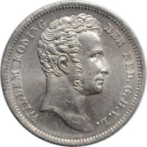 "Netherlands East Indies 1/4 gulden 1840, UNC, ""King William I (1826 - 1940)"""