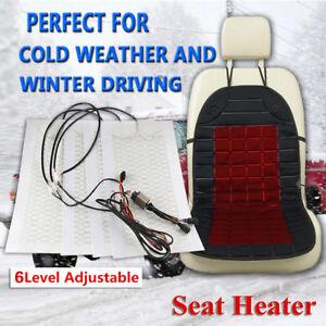 Universal 4PCS Carbon Fiber Auto Car SUV Seat Heated Heater Heating Pad 6 Level