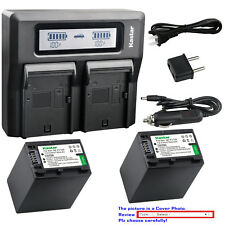 Kastar Battery Dual LCD Fast Charger for FV100 & Sony FDR-AX33 FDR-AX53 NEX-VG10