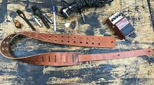Genuine Leather Hole Guitar Strap Handmade USA Vintage Rock Goth Tan Oiled