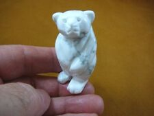(Y-Bea-St-711) White gray Standing Bear gemstone carving Figurine I love bears