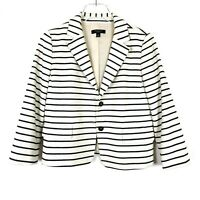 Ann Taylor 2-Button Striped Blazer Jacket 3/4 Sleeve Size 8P 8 Petite D2196