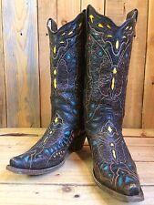De Colección Corral botas de vaquero occidental de cuero Talla 5 fabulosa Mariposa Diseño en muy buena condición