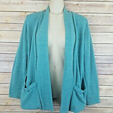 Green Cardigan Sweater Slouchy Long Sleeve Pockets Layering M L Solid Cozy Knit
