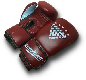 Machina Matadora 16oz Womens Leather Sparring Gloves - DARK RED/LIGHT BLUE