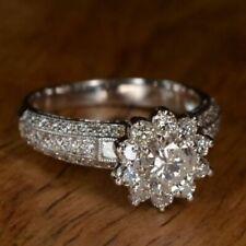 Wedding Ring 14K White Gold 2.95Ct Halo Round Cut Engagement