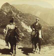Underwood Stereoview a Couple on Horseback in Millards Canyon, Mt. Lowe, CA 1898