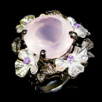 Handmade Jewelry Natural Rose Quartz 925 Sterling Silver Ring Size 8.75/R117949