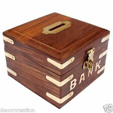 Wooden Handicrafted Square Money Bank Kids Piggy Coin Box Gift Item