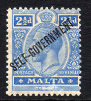 Malta 2 1/2d MM Stamp c1922 KGV Self Goverment OVP Hinged (wmk CA) (3026)