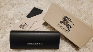 BURBERRY HARD BLACK SLIM LEATHER SUNGLASSES GLASSES CASE AUTHENTIC